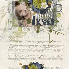 """Hello Bear"" digital scrapbooking layout by Brandy Murry"