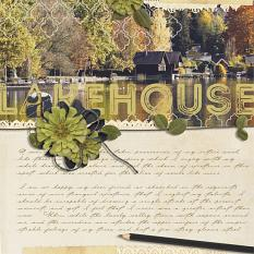 """Lakehouse"" digital scrapbooking layout by Brandy Murry"