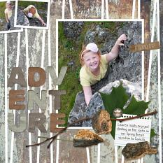 """Adventure"" Digital Scrapbooking Layout by Cherise Oleson, using ScrapSimple Paper Templates: Fractured Geometrics"