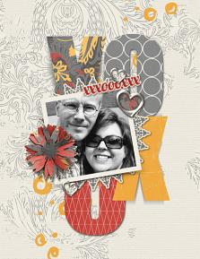 """XOX"" digital scrapbooking layout by Brandy Murry"