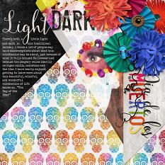 Light & Dark Dia de los Muertos #digitalscrapbooking layout idea by Amanda Fraijo-Tobin | ScrapGirls.com #halloween #digiscrap