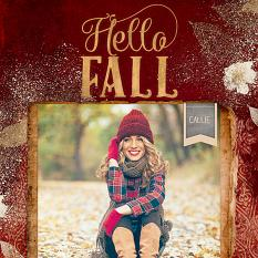 """Hello Fall"" Digital Scrapbook Layout by Keri Schueller"