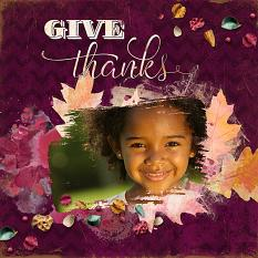 Give Thanks Digital Scrapbooking Layout by Keri Schueller