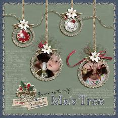 """Decorating Ma's Tree""  layout by Andrea Hutton using Tis The Season Collection Biggie"