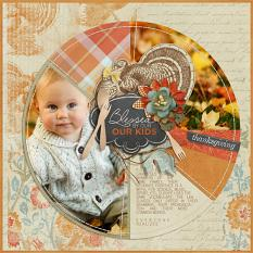 """Blessed by Our Kids"" Digital Scrapbooking layout by Brandy Murry"