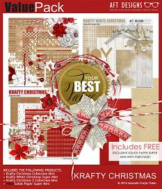 #digitalscrapbooking Krafty Christmas collection with free solid backgrounds by Amanda Fraijo-Tobin | ScrapGirls.com