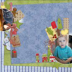 """Christmas Baking"" digital scrapbook layout showcases Country Christmas Collection"