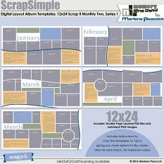 ScrapSimple Digital Layout Album Templates: 12x24 Scrap It Monthly Two Series 1