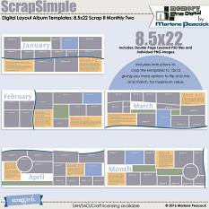 ScrapSimple Digital Layout Album Templates: 8.5x22 Scrap It Monthly Two Series 1