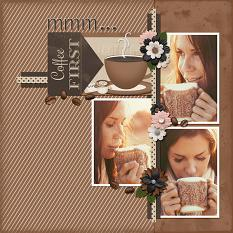 Coffee First digital scrapbooking layout featuring Morning Brew Collection