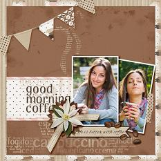 Good Morning Coffee digital scrapbooking layout featuring Morning Brew Collection