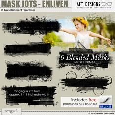 ScrapSimple Embellishment Templates: Mask Jots - Enliven #photoshop blenders with brush file by Amanda Fraijo-Tobin \ AFT Designs @Scrapgirls.com