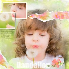 Dandelion Wish layout using Blended and Torn layout templates