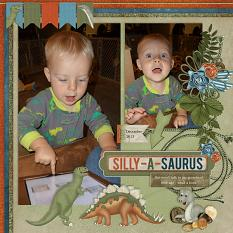 """""""Silly-A-Saurus"""" digital scrapbooking featuring Time To RAWR Collection"""