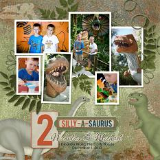 """""""Dinosaur World"""" digital scrapbooking layout using Time To RAWR Collection"""