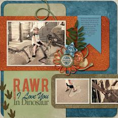 """""""Dinoland"""" digital scrapbooking layout using Time To RAWR Collection"""