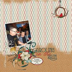Caroling In The Rain layout using Winter Trimmings Collection Mini