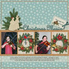 Christmas Music layout using Winter Trimmings Collection Mini