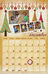 December Calendar digital scrapbooking layout featuring North Pole Friends Collections