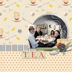 Tea Party layout featuring Grandma's Kitchen Collections