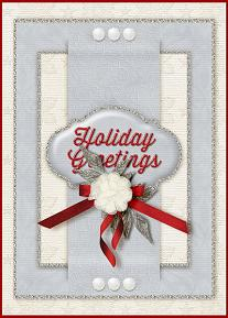Holiday Greetings digital card using the ScrapSimple Card Templates:  5x7 Holiday