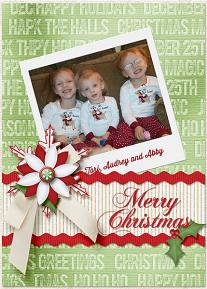 Merry Christmas digital card using the ScrapSimple Card Templates:  5x7 Holiday