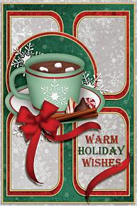 Warm Holiday Wishes digital Card using ScrapSimple Card Templates: 4x6 Vertical 1