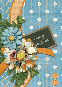 Happy Birthday card featuring the ScrapSimple Card Templates:  5x7 Everyday