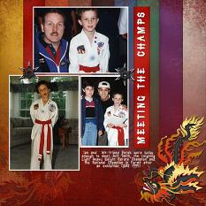 Meeting The Champs digital scrapbooking layout using Martial Arts Collection Biggie