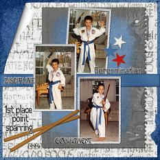 1st Place digital scrapbooking layout using Martial Arts Collection Biggie