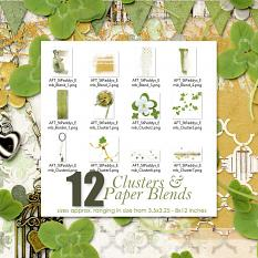Includes 12 large St. Patrick's day inspired cluster and paper blends for #digitalscrapbooking layouts by Amanda Fraijo-Tobin