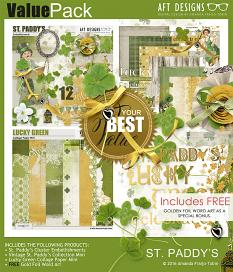 St. Patrick's scrapbooking Value Pack including gold foil word art freebie #digitalscrapbooking