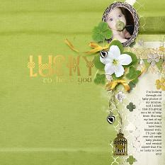 Lucky to have you #scrapbooking laoyut by Amanda Fraijo-Tobin | uses Lucky Green Collage Papers & St. Paddy's Embellishment Clusters
