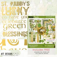 Recieve this free gold foil word art Included with this St. Patrick's day themed #digitalscrapbooking kit! | ScrapGirls.com
