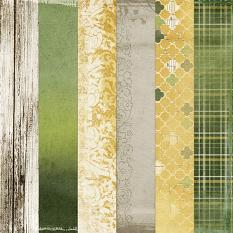 Detail of Papers included: Green, plaid, faded damask and wooden #digitalscrapbooking backgrounds inspired by St. Patrick's Day #printable