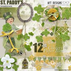 St. Paddy's cluster scrapbooking embellishments and background paper blends