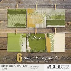 Lucky Green Collage Scrapbooking Printable blended backgrounds