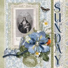 """My Favorite Day Is Sunday"" layout featuring Beauty In Bloom Collection"
