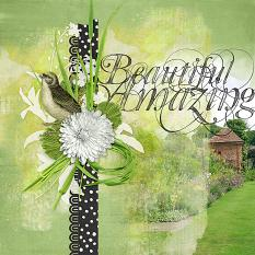 Blended photo #scrapbooking layout idea on a green background by Amanda Fraijo-Tobin using All Spring Embellishment Clusters | ScrapGirls.com