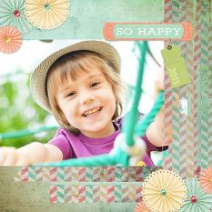 """So Happy"" digital scrapbooking layout by Keri Schueller"