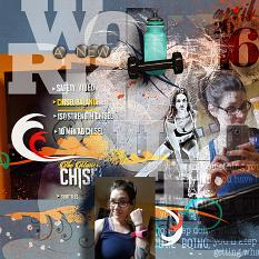 #digitalscrapbooking ' A New Workout ' layout by Amanda Fraijo-Tobin using Simply Inky #photoshop brushes #AFTdesigns | ScrapGirls.com