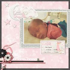 """Sweet Dreams"" digital scrapbooking layout using All About Baby Girl Collection Biggie"
