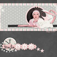 """Time For Bed"" digital scrapbooking layout featuring All About Baby Girl Collection Biggie"