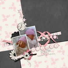"""Kiahna"" scrapbook layout featuring All About Baby Girl Collection Biggie"