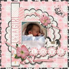 Love My Baby Girl digital scrapbooking layout featuring All About Baby Girl Collection Biggie