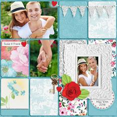"""Susie & Frank"" digital scrapbook layout by Darryl Beers"