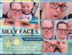 """""""Silly Faces"""" digital scrapbook layout features SSDLAT: 8.5x22 Scrap It Monthly Two Series 2"""