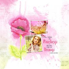 Painted layout using Flower Garden Embellishments