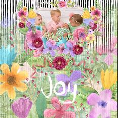 """Joy"" digital scrapbook layout by Andrea Hutton"
