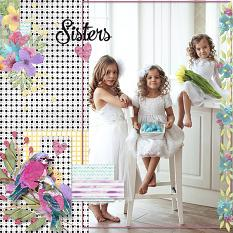 """Sisters"" digital scrapbook layout by Judy Webster"